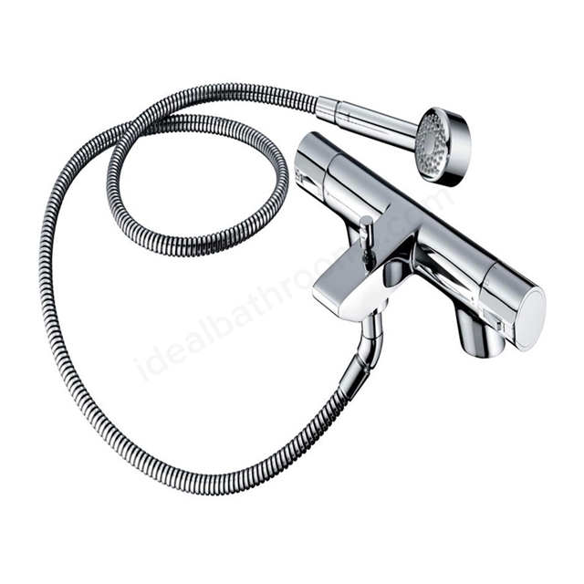 Ideal Standard ACTIVE Bath Shower Mixer Tap, Thermostatic, Includes Kit, 2 Tap Hole, Chrome