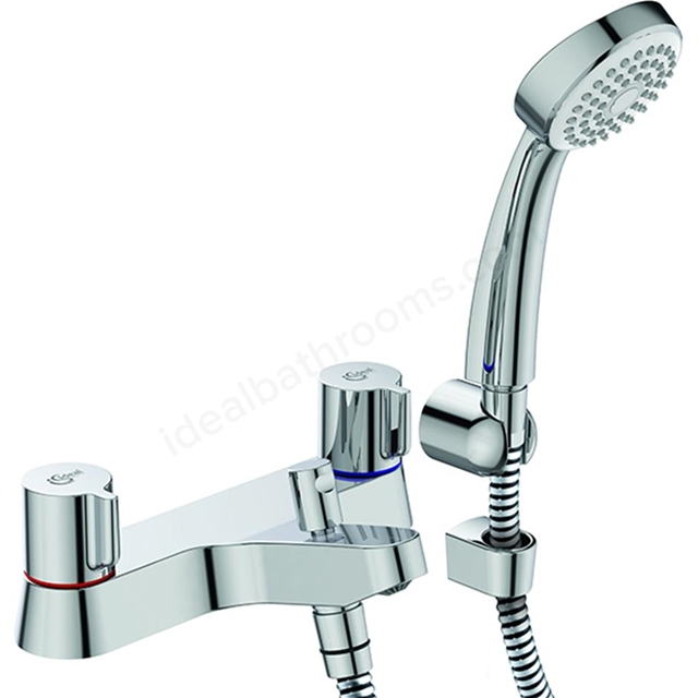 Ideal Standard ALTO Bath Shower Mixer Tap, Includes Shower Kit, 2 Tap Hole, Chrome