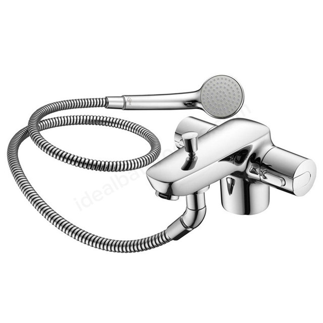 Ideal Standard CERAMIX Blue Bath Shower Mixer Tap, Includes Shower Kit, 1 Tap Hole, Chrome