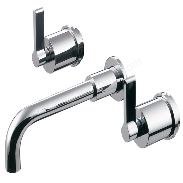 Ideal Standard SILVER Wall Basin Mixer Tap, 150mm Spout, No Waste, 3 Tap Hole, Chrome