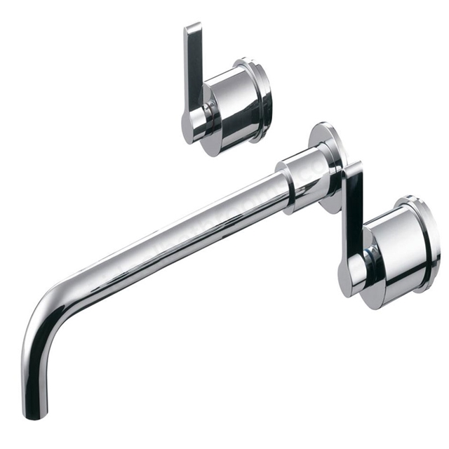 Ideal Standard SILVER Wall Basin Mixer Tap, 230mm Spout, No Waste, 3 Tap Hole, Chrome